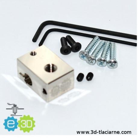 Hotend E3D pokovovaná kocka - V6 universal fixing kit