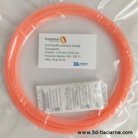 PLA Extrafill vzorka - Luminous Orange Transparent Fillamentum